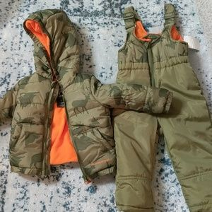 Army Green Winter Coat and Snow Bibs
